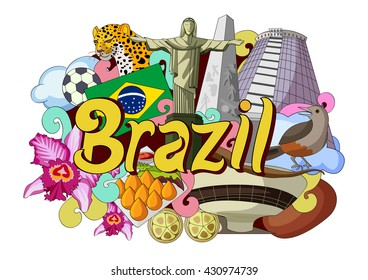 vector illustration of Doodle showing Architecture and Culture of Brazil