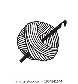 vector illustration in doodle style. a ball of wool and a crochet hook. symbol of knitting, crocheting, handmade, hobby and needlework. minimalistic logo