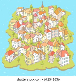 Vector Illustration in Doodle Style: Funny Cartoon Town on the Small Island