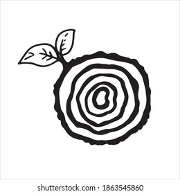 vector illustration in doodle style. saw cut from a tree. cute drawing on the theme made of wood, eco, lumber. stylized saw cut of a tree, a twig with a leaf. clip art isolated on white background