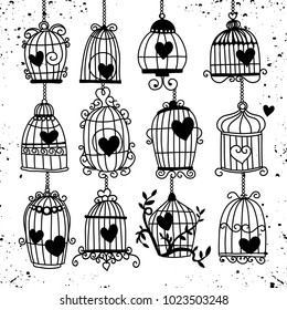 Vector illustration of doodle ,Valentine background with heart in retro bird cage