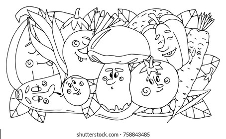 Vector Illustration Doodle Vegetables Black And White Coloring Book
