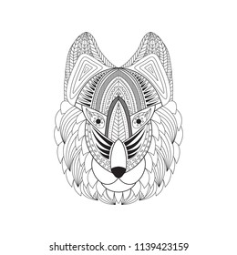 Vector illustration of doodle wolf head. Doodle wolf head for t-shirts design, tattoo, coloring book etc. Zentangle decorative wolf head drawing.