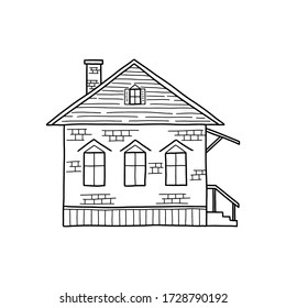 Vector illustration of a Doodle-style house isolated on a white background. One-story architecture. The concept of a house. Buying, selling and renting real estate. Outline.
