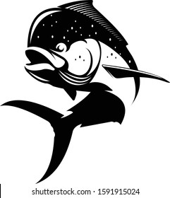 Vector illustration of Dorado or Dolphin Fish. Vector illustration can be used for creating logo and emblem for fishing clubs