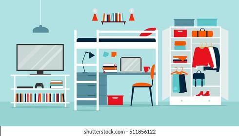 Vector illustration of a dormitory