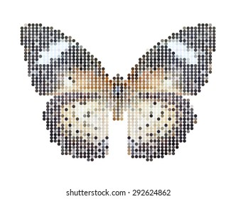 Vector illustration dot butterfly isolated on white background