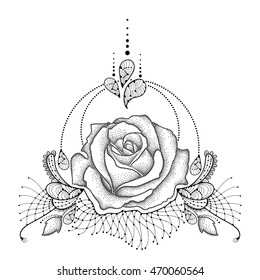 512be9316 Boho print, poster. Vector illustration with dotted Rose flower in black,  leaves, decorative ornate lace and swirls