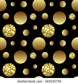 Vector illustration with dotted seamless gold glitter pattern. Polka dot ornate with gold glittering cracky circle isolated on black background