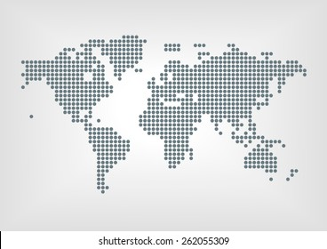 Vector illustration of dotted world map with all continent in flat design and blurred background