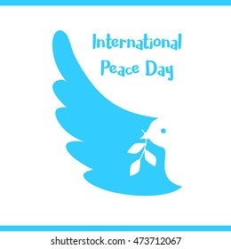 Vector Illustration of a Dove of Peace. Peace dove with olive branch for International Peace Day poster. World peace day logo design