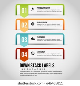 Vector illustration of down stack labels infographic design element.