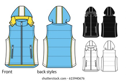 Vector illustration of down vest. Front and back views
