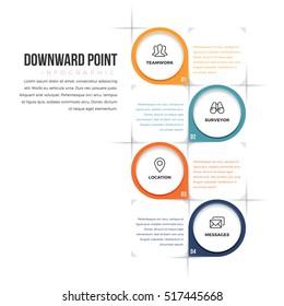 Vector illustration of downward point infographic design element.