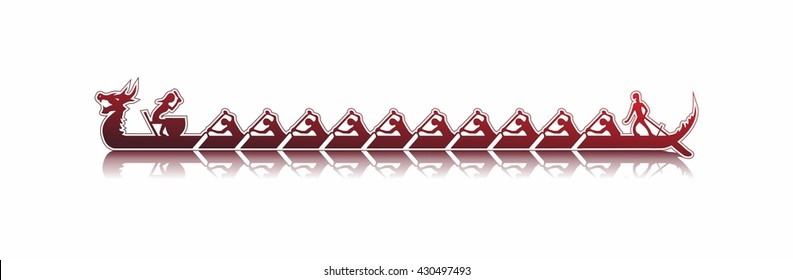 vector illustration of a dragon boat in action, shades of red sticker style on white background, dragon boat reflecting in water