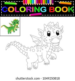 vector illustration of dragon coloring book