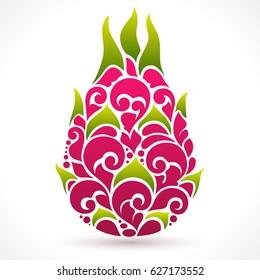 Vector illustration Dragon fruit - symbol, icon, design element. Abstract Ornamental pattern pitaya on white background