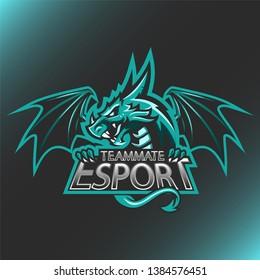 Vector illustration Dragon Head logo Esport