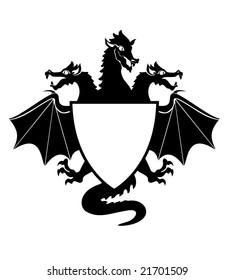 Vector  Illustration of dragon Shield  Emblem