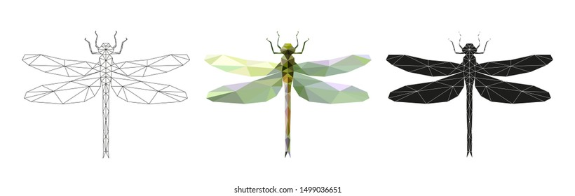 Vector illustration of a dragonfly in low poly style. 3 isolated illustrations on a white background: linear, color, silhouette. Geometric dragonfly made of triangles. Polygonal illustration.