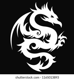 vector illustration of dragons, can be used for tattoo designs and other design purposes that require vector files, easy to use and edit.