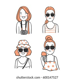 Vector illustration draw character design of cute girls in summer holiday. Doodle style.