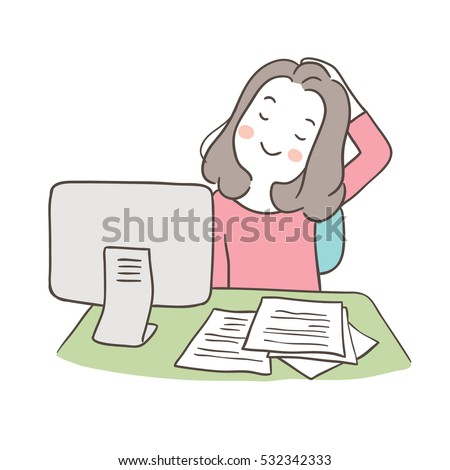 Vector Illustration Draw Character Young Businesswoman Stock Vector