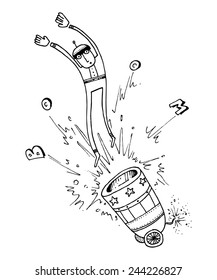 vector illustration drawing for a card with a man shot from a cannon, funny, boom