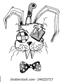 vector illustration drawing for a card with a monster rabbit, bow tie, a knife stuck in his head, funny, silly, cartoon