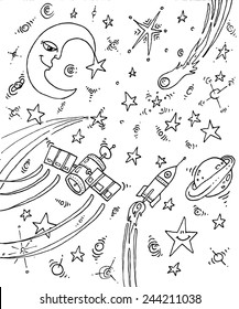 vector illustration drawing for a card, universe, space, cosmos, outer space, comet, stars, moon, rocket, satellite