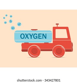 Vector illustration. Drawing. Cartoon truck erythrocyte carries oxygen