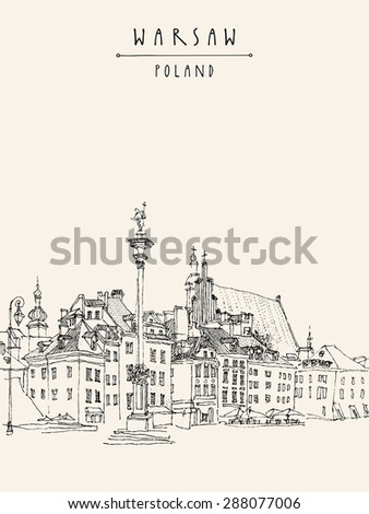 Vector illustration drawing castle square old stock vector royalty vector illustration drawing of castle square in old center of warsaw poland historical buildings maxwellsz