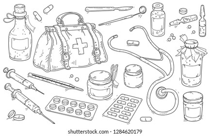 Vector illustration, drawing icons, medical instruments and doctor bag, pills and medicine bottles