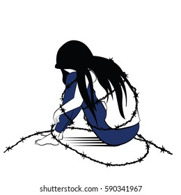 Vector illustration drawing in ink sketching style, lonely woman, sad and depression, sitting alone surround with barbed wired, presenting to woman being jailed or caged.