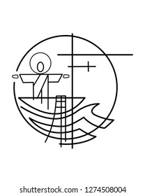 Vector illustration or drawing of Jesus Christ on a fishing boat and nets symbol