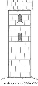 Vector illustration or drawing of medieval or fantasy castle tower.