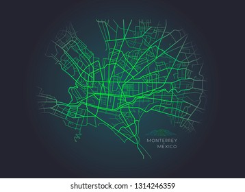 Vector illustration or drawing of the Monterrey Mexico city map
