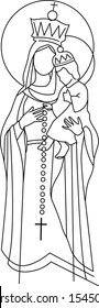 Vector illustration or drawing of Our Lady of the Rosary Virgin Mary
