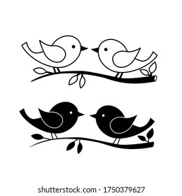 Vector illustration, drawing of a pair of birds, template, black tattoo image, isolate on a white background