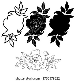 Vector illustration, drawing of peony flowers, template, black image of tattoo, isolate on a white background
