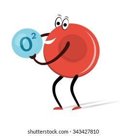 Vector illustration. Drawing.  Red Blood Cell with Oxygen Cartoon
