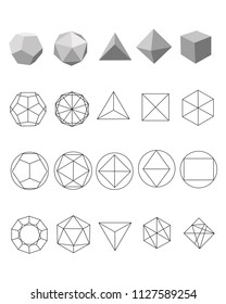 Vector illustration or drawing of some geometric polygonal figures