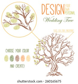 Vector illustration of the drawing tree. Variant of design of your family tree or wedding tree