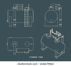 Vector illustration of drawings of a multipurpose fluid tank