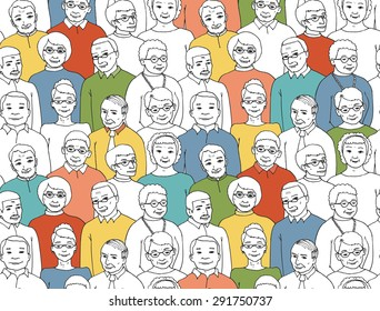 Vector illustration drawn by hand. endless pattern with the image of a group of elderly people and pensioners. Grandmothers and Grandfathers