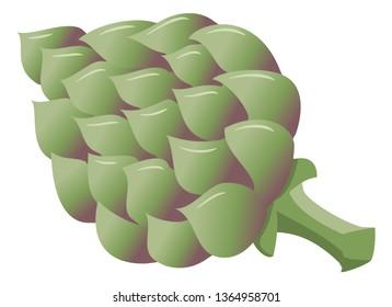 vector illustration of a drawn cartoon artichoke