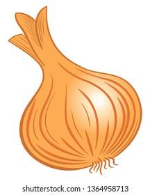 Vector illustration of a drawn cartoon vegetable onion