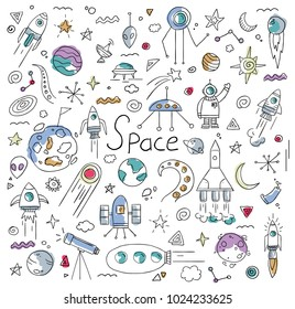 vector illustration. drawn from the hands of doodles on the topic of infinite space. graphic elements of spaceships, planets of the solar system make up an interesting pattern