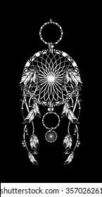 vector illustration Dream catcher with beads, ribbons and feathers in the style of boho