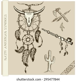 Vector  illustration of dream catcher and  Indian symbols